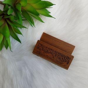 Vintage Wooden Desk Card Holder for Business Cards